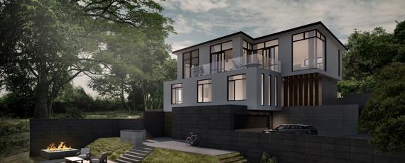 bright modern three storey 3d render